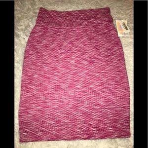 Lularoe Cassie Pink Textured Pencil Skirt Medium